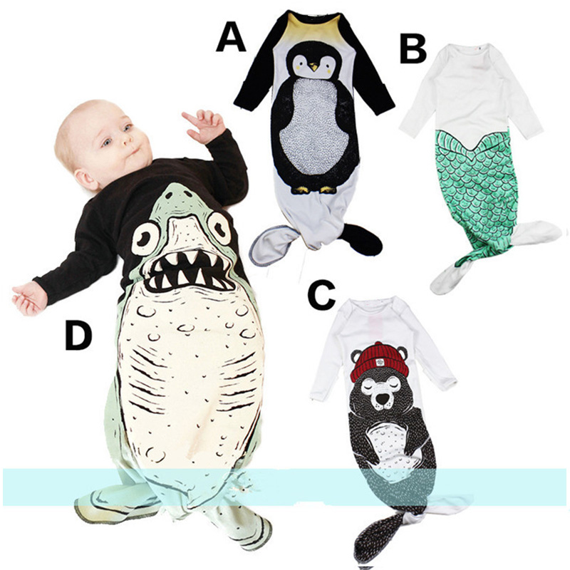 New Baby Sleeping Bag Penguin/Bear/Shark/Mermaid Pattern Infant Boy&Girls Autumn Spring Long Sleeve Sleeping Bags FJ88