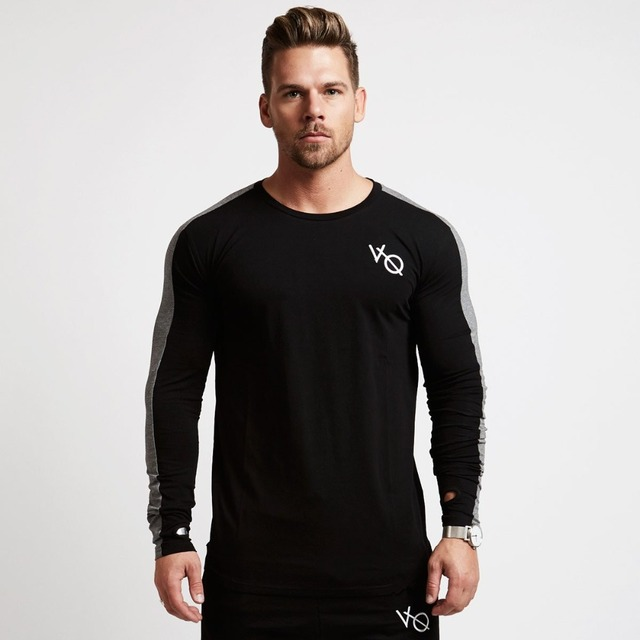 New Vanquish  Fitness Spring  men long sleeved cotton vq  t shirt  raglan sleeve gyms workout clothing male Casual  tees tops