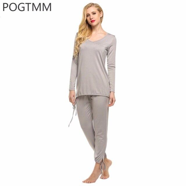 POGTMM Outono Noite do Pijama Terno Das Mulheres Top de Manga Longa e Longo Pant 2 Peça Conjunto de Pijama Feminino Salão Homewear Sleepwear Real L1
