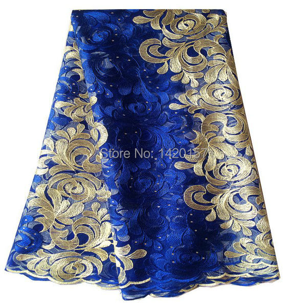 African Lace Fabric Embroidery Net Royal Blue, Green, Orange Mesh Tulle Lace Fabric Nigerian French Guipure Cord Lace