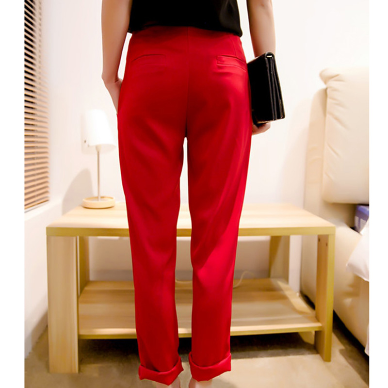 2018 Spring Summer High Waist Pants For Women Harem Ankle-Length Pants Solid Color Red Trousers Female Casual Loose Fashion