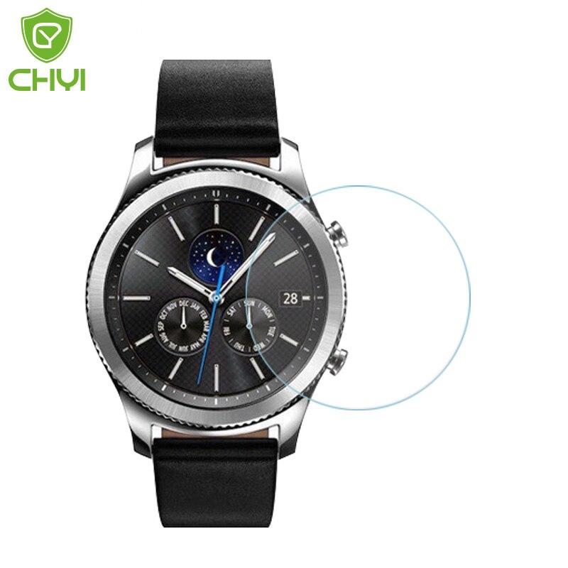 imágenes para 10 unidades Premium de Cristal Templado de Cine Para Samsung S3 S2 Clásico Reloj de Engranajes Protector de Pantalla a prueba de Explosiones con Herramientas en caja