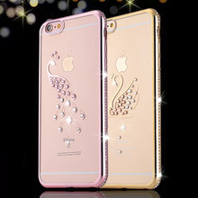 Electroplating Rhinestone TPU Phone Case for iphone X 8 7 Plus 6 6s Plus Case Diamond Peacock Swan Shell Transparent Cover Case(China)