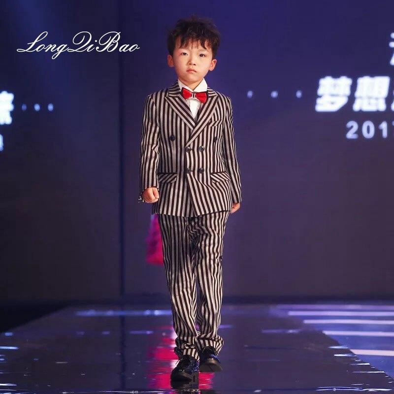 Children's cotton rough striped suit men's three-piece flower girl dress boy suit big children striped suit catwalk Christmas gi