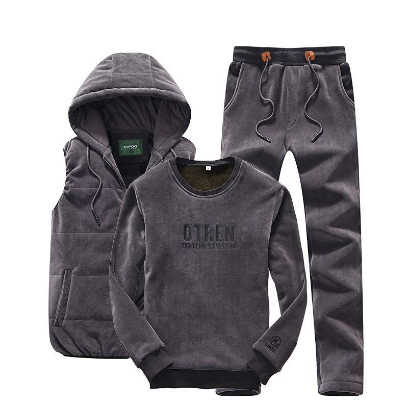 Sporting Suit À Capuche Hommes Ensemble M-4XL D'hiver Or Velours 3 Pièces Ensembles de Survêtement Hommes Plus La Taille XXXXL Gilet + pantalon + Sweat