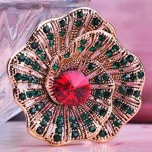 Chic Round Flower Rhinestone Crystal Brooches Women Dinner Dress Scarf Clip Pin Icon Badge Bijouteries Broche Joyas Femme Bijoux