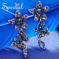 Special New Fashion Plated Drop Earrings CZ Diamond Flower Dangle Earrings Vintage Ear-piercing Jewelry Gifts for Women S1608E