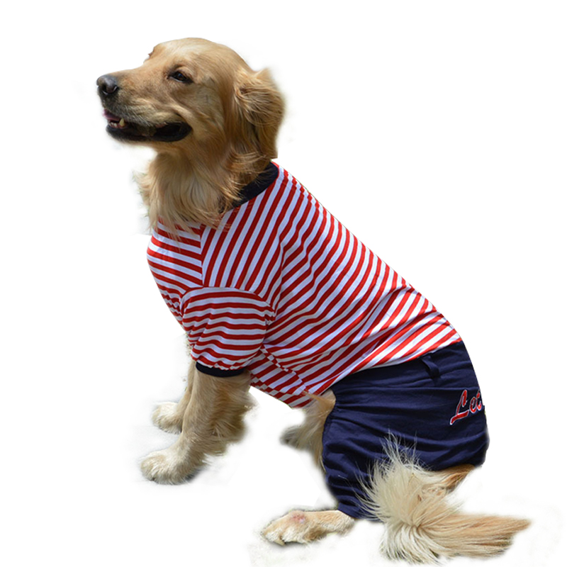 Striped Big <font><b>Dog</b></font> Clothes Jumpsuits Spring Summer <font><b>Dogs</b></font> <font><b>Pets</b></font> <font><b>Clothing</b></font> Coat Clothes for Medium Large <font><b>Dogs</b></font> Outfit Vetement Chien image