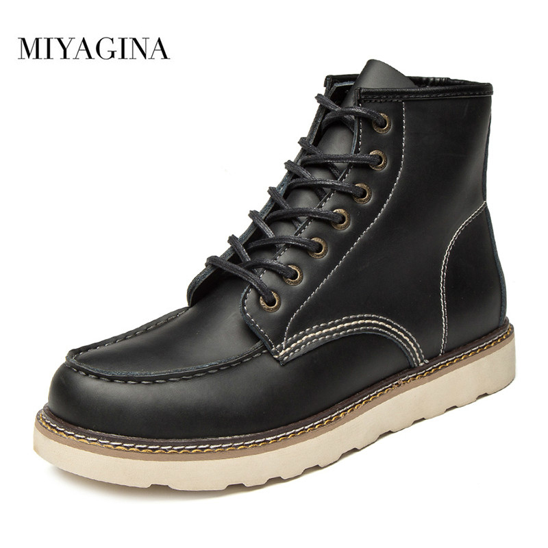 MIYAGINA New Fashion 100% Genuine Leather Men Boots Spring Autumn Winter Men Shoes Ankle Boots Men's Work Shoes Plus Size 39-46 jancoco max new spring genuine soft cowhide leather men baseball caps autumn winter fashion solid army hats s3062