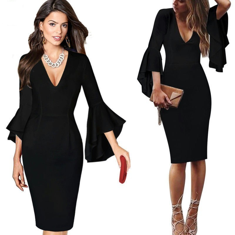 Sexy V Neck Cocktail Dresses 2018 Short Party Gowns Long Sleeves Knee-Length Robe Cocktail Courte Casual Ruffles Bodycon Dress