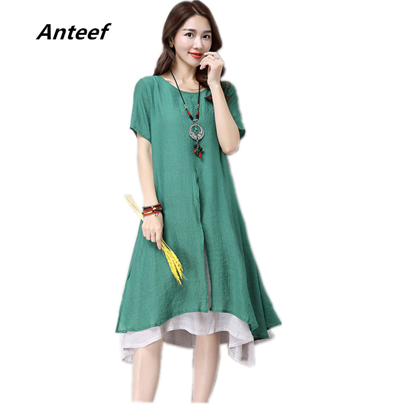New Fashion Cotton Linen Plus Size Women Casual Loose Long Summer Dress Vestidos Femininos Party 2017