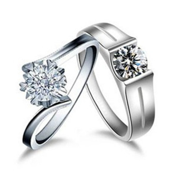 Solid 14K 585 White Gold Couple Rings Name Brand Pair Jewelry for