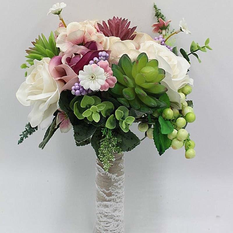 Bridal Bouquet High Quality Ivory Rose Throw Wedding