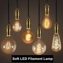Ретро светодиодный Edison лампа E27 220V 3W спираль светодиодный Лампа накаливания с регулируемой яркостью Эдисон лампы ST64 A60 G80 G95 G125 T45 ампулы Винтаж лампа