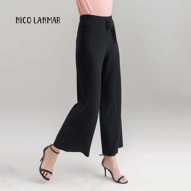2019 neue Lose Hosen frauen Gestrickte Neue Koreanische Elastische Taille Hosen Mode Lässig Füße Hosen Schlank War Dünn 9 bleistift Hosen