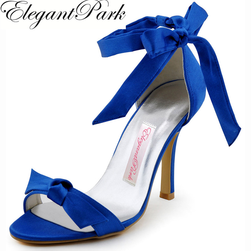 New Women Sandals Blue HP1405 Open Toe Bow Ribbon Ankle Buckle High Heel Satin Woman Wedding Shoes Lady Prom Evening Sandals woman summer sandals blue wedding bridal med heel open toe rhinestones buckle satin lady bridesmaids prom evening shoes ep2127
