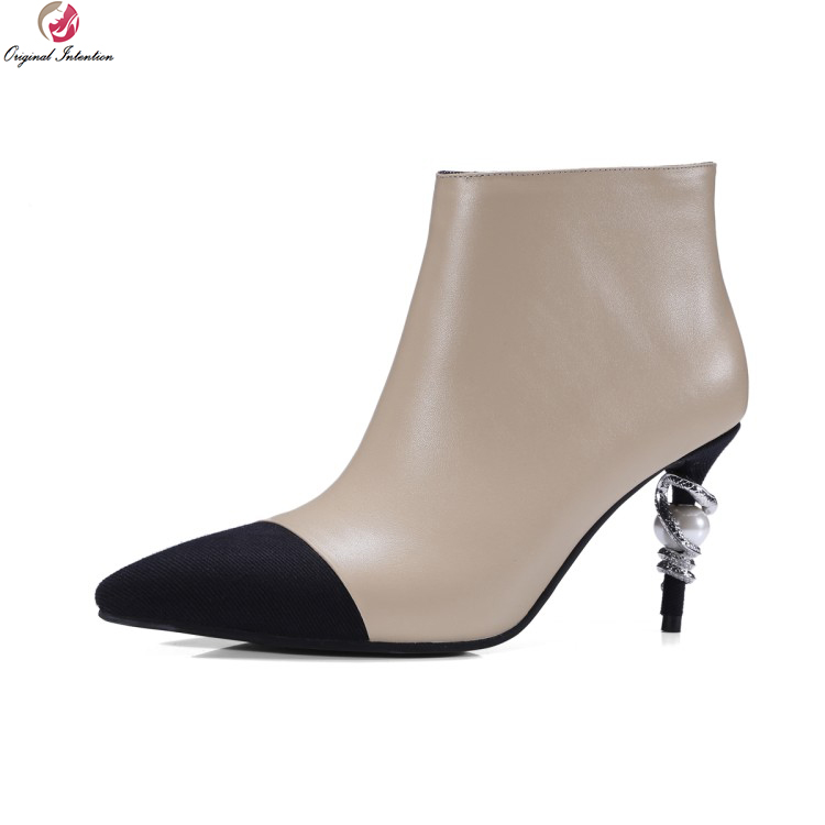 Original Intention Stylish Women Ankle Boots Fashion Pointed Toe Thin Heels Boots Elegant Black Nude Shoes Woman US Size 4-8.5 creativesugar elegant pointed toe woman