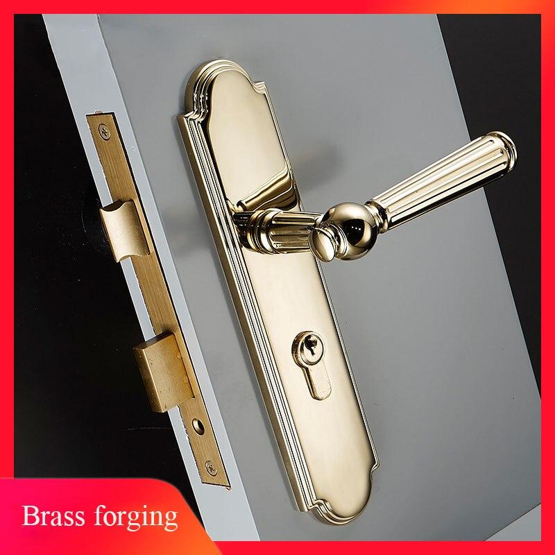 1 ensemble de serrure de porte Simple de style européen intérieur ordinaire ou poignée de porte en laiton néoclassique française avec accessoires de serrure à clé JF1961