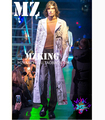 2015 Hot New brand fashion Exclusive men singer DJ TOP long section stage Trench coats white Letter cartoon costumes outerwear
