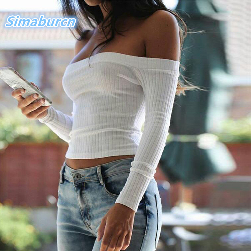 2018 Thin Ribbed Blusas Long Sleeve Sexy Off Shoulder Top Blouse Casual Women Blouses Sexy Strapless Female Shirts Tops Tees