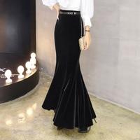 2019 S 5XL Plus Size Elegant Long Maxi Mermaid Skirts For Women High Waist Winter Black Velour Ruffles Bao Hip Pleuche Skirts