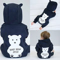 Kids Baby Boy Girl Warm Infant Romper Jumpsuit Bodysuit Bear Zipper Hooded Clothes Outfit