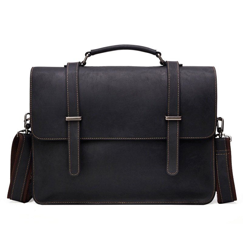 New Genuine Leather Business Men 'S Bag Mad Horse Skin Retro Style Cross Handbag Briefcase Men' S Casual Shoulder A4242 aetoo europe and the united states fashion new men s leather briefcase casual business mad horse leather handbags shoulder