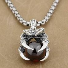 Huge Dragon Claw & Red CZ Dragon Ball 925 Sterling Silver Mens Pendant 9F005(Necklace 24inch)