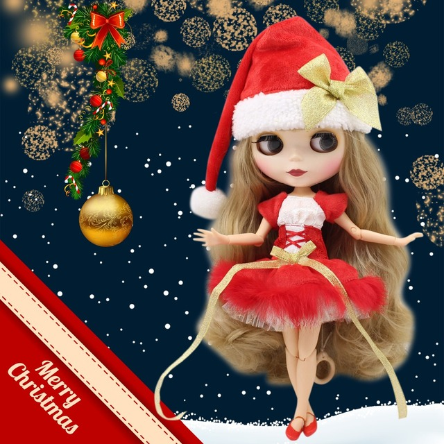 factory blyth doll with joint body matte face Christmas Dress shoes with Christmas hat/without Christmas hat combination