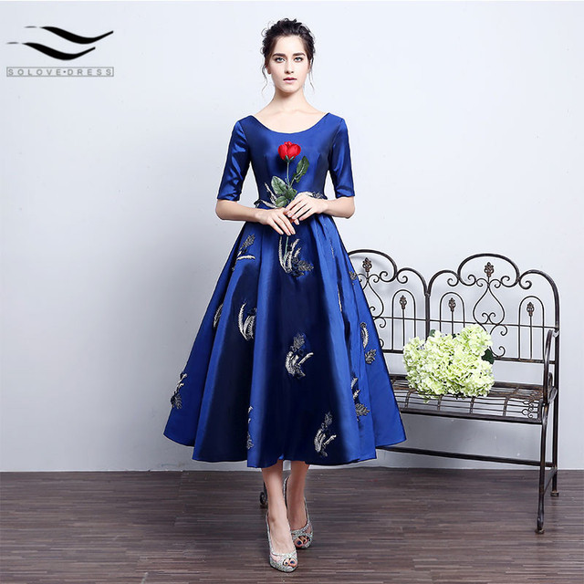 839ff0617c Noble A-Line Blue Taffeta Half Sleeves Scoop Tea Length Host Evening Gown  Prom Dresses 2018 Party Gown Custom Size Plus Size