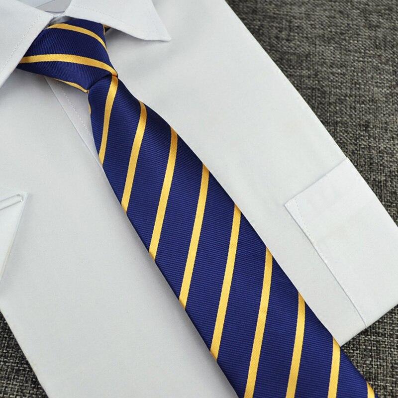 Mens Silk Tie Navy Blue Yellow Striped Slim Necktie 6cm Business