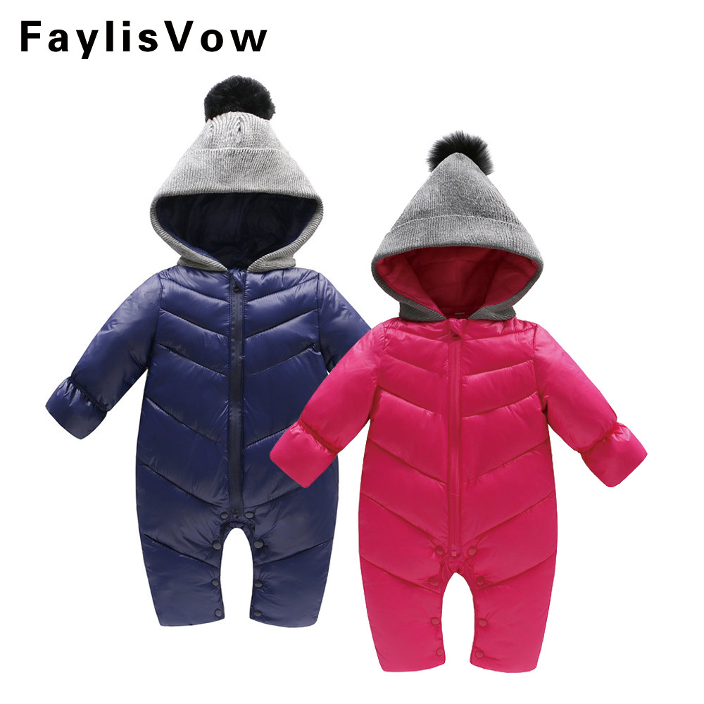 Warm Newborn Baby Winter Romper Fur Ball Hooded Jumpsuits Thicken Cotton Boy Girl Clothing Infant Pajama Infant Overall giyim cute newborn baby boy girl clothes floral infant bebes cotton romper bodysuit bloomers bottom 2pcs outfit bebek giyim clothing