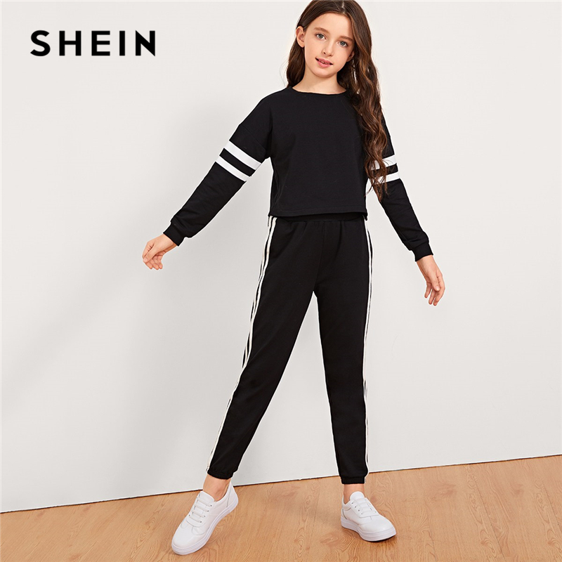 SHEIN Black Girls Striped Sleeve Pullover And Pants Two Piece Set Girls Clothing 2019 Active Wear Long Sleeve Children Clothes цена