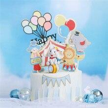Palhaço e circo bolo topper rosa balão azul feliz aniversário decoração para o dia das crianças festa de cozimento suprimentos presentes bonitos