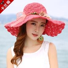 2018 Новый Летний Sun Hat Широкий Брим Beach Sun Cap Женщины Солнце соломенной шляпе Элегантный Cap УФ-защиты Bow Travel Cap Соломенные шляпы B-7983