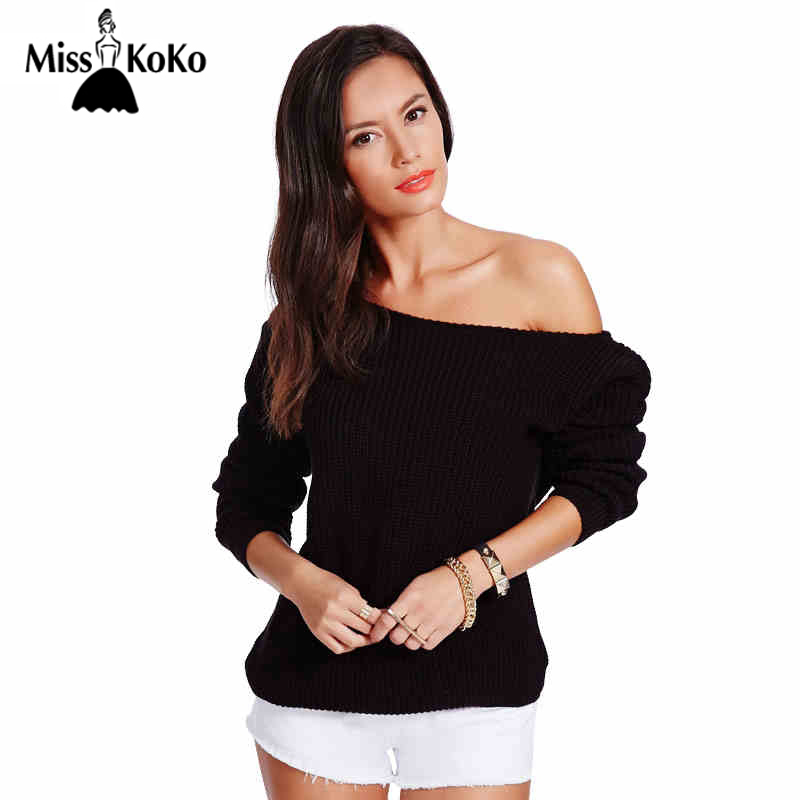 MissKoKo 2018 Brand New Fashion Women Sweater Full Sleeve Solid Sweater Off Shoulder Design Pullover Sweaters