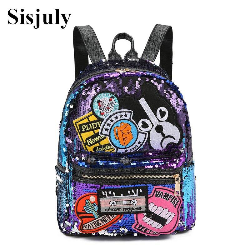 Sisjuly Glitter Sequins Dog Patched Backpack Women Fashion PU Leather Travel Bag Large Capacity School Bag Rucksack Mochilas