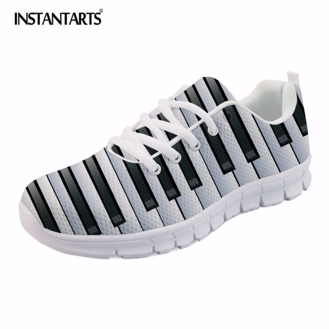 INSTANTARTS 2018 NEW Men's Casual Flat Shoes Music Notes with Piano Keyboard Printed Mesh Sneakers Breathable Male Comforrtable
