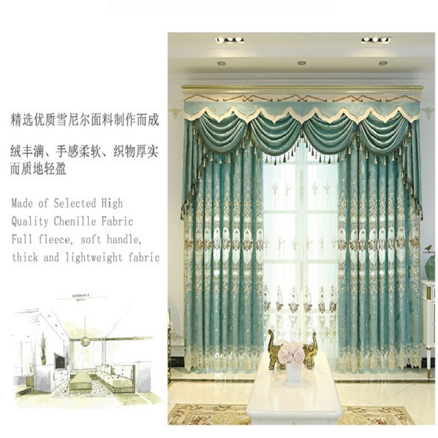 ヨーロッパスタイルシェーディング刺繍、リビングルーム、寝室のカーテンヴィラ、ローマカーテンロッド、ローリング、バックル、垂直、蝶カーテン