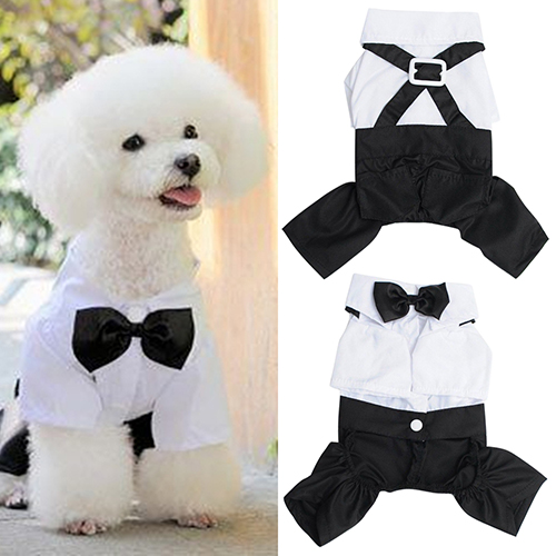 Cute Male Pet Dog Cat Clothes Pet Dog Cat Wedding Dress Prince Tuxedo Bow Tie Shirt Suit Puppy Cat Jumpsuit Suit Pet Products