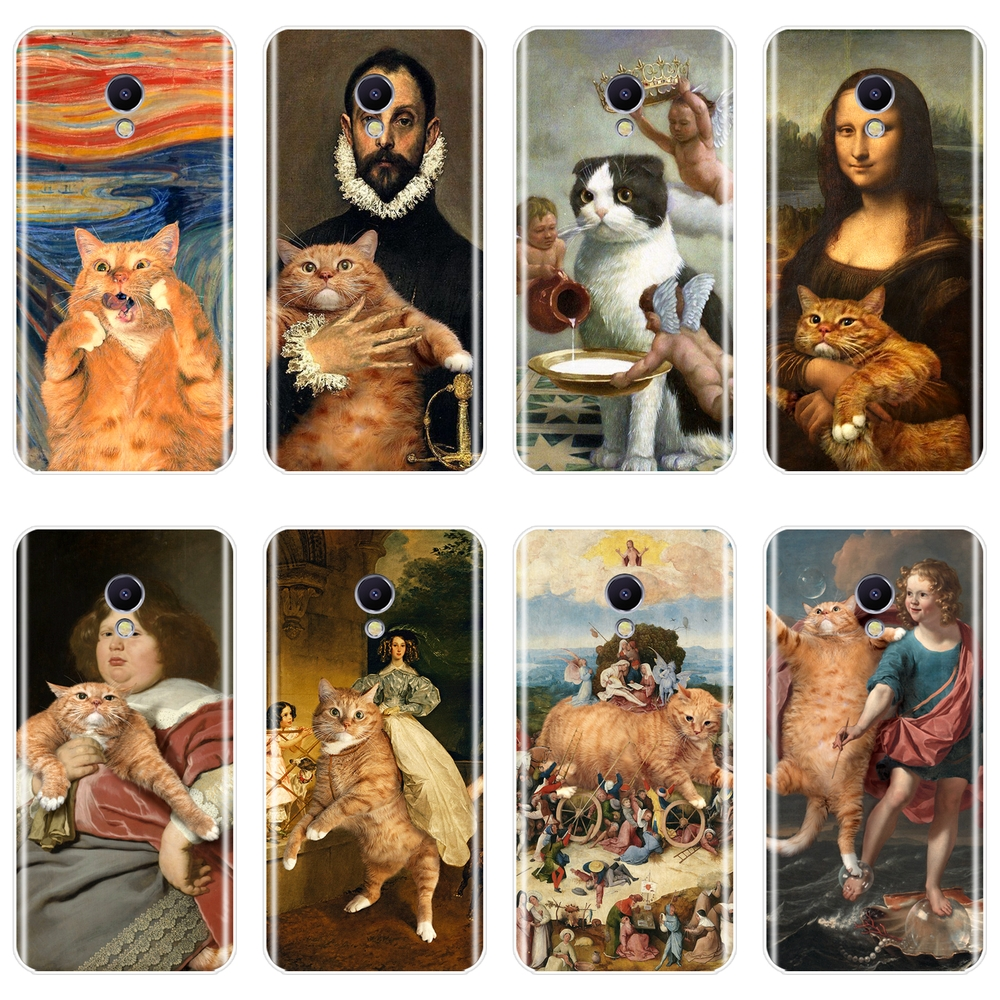 Soft Phone <font><b>Case</b></font> Silicone For <font><b>Meizu</b></font> M2 M3 M3S M5 M5C M5S M6 <font><b>M6S</b></font> M6T Art Cat Mona Lisa Funny Back Cover For <font><b>Meizu</b></font> M2 M3 M5 M6 Note image