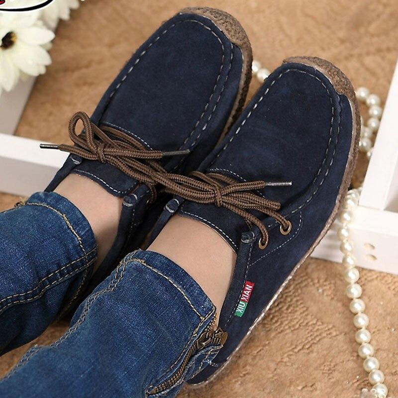 Mujeres de la manera zapatos casuales Otoño zapatos de cuero de las mujeres soli
