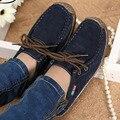 Mujeres de la manera zapatos casuales Otoño zapatos de cuero de las mujeres solid lace up plana zapatos de Marca mujer chaussure femme 2016 nueva DT90