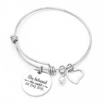 453bd526cf75 Ella creía que podía por que lo brazalete pulsera personalizada de joyería  de inspiración regalos
