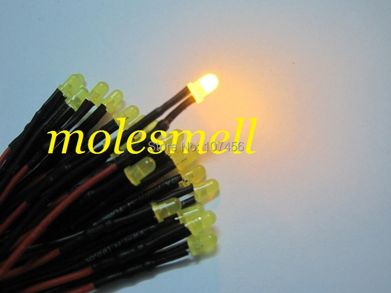 Free shipping 50pcs 3mm 12v diffused yellow LED Lamp Light Set Pre-Wired 3mm 12V DC Wired