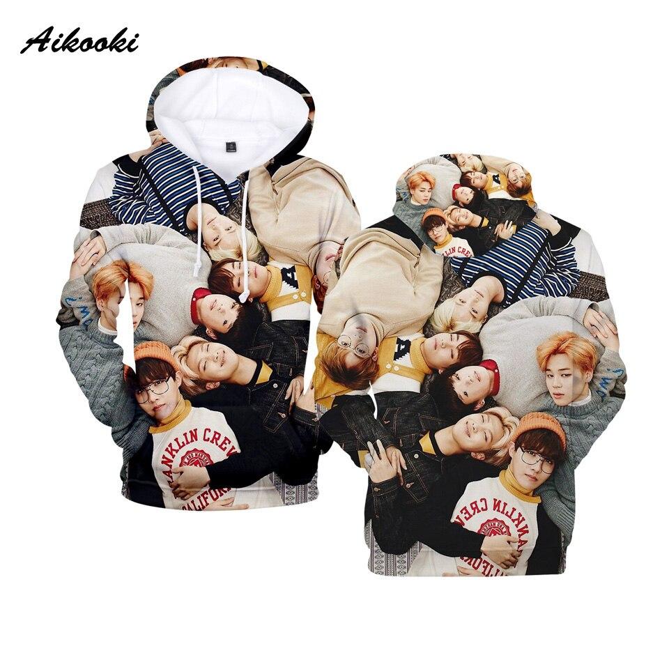 BTS 3D Hoodies Men Pullover BTS Hoodies Mens 2018 Fashion Long Sleeve Harajuku Sweatshirt BTS Hooded Sweatshirts Loose Hoodie