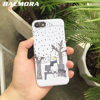 BALMORA Couple Cute Cartoon Cat Case Ultra Thin Back PC Hard Shell Anti-knock Cover Case For iPhone 6 6s Plus 7 7Plus Funda Capa