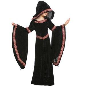 Image 3 - Umorden Bambini Bambino Ragazze Adolescenti Medievale Strega Pagan Strega Costume Gotico di Velluto Con Cappuccio del Vestito di Halloween Costumi di Carnevale