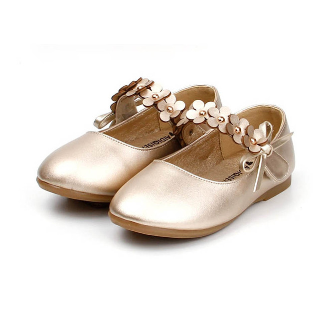 2017 Spring Flower Strap Children Girls Princess Shoes Fashion Bowtie Kids Girls Wedding Shoes Ankle Strap Toddlers Girl Shoes