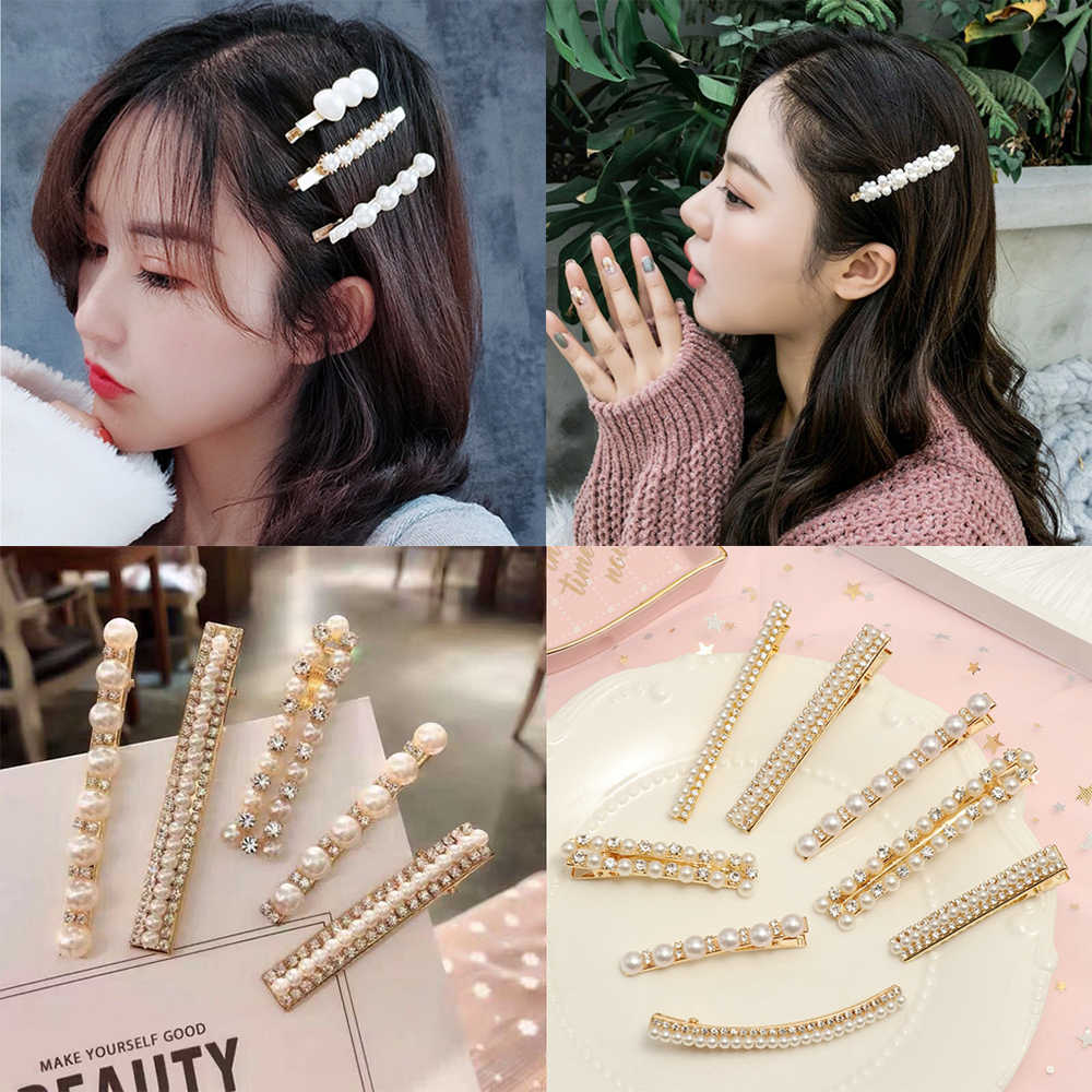 Korean Sweet Clips Headwear Hair Styling Tool Women Fashion Hair Accessories Metal Pearl Hairpins Lady Simple Hair Clip Barrette